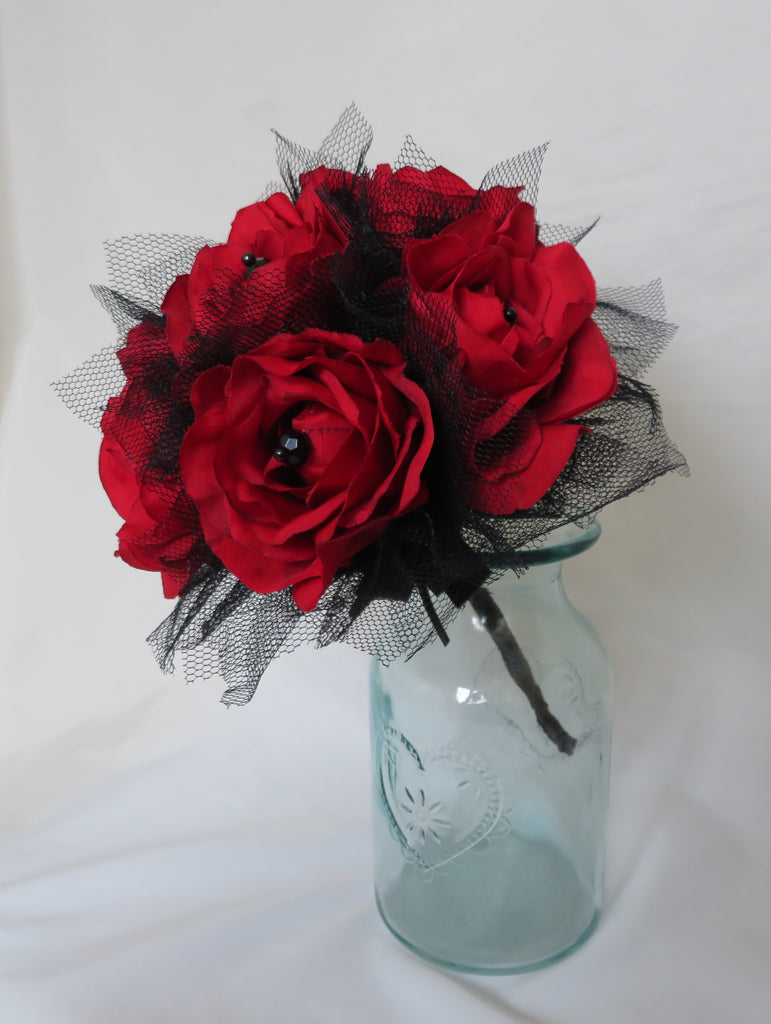 Scarlet Red and Black Rose Bouquet - Tulle & Lace Roses Flower Brides Vintage Wedding Gothic Halloween Posy - Ready Made