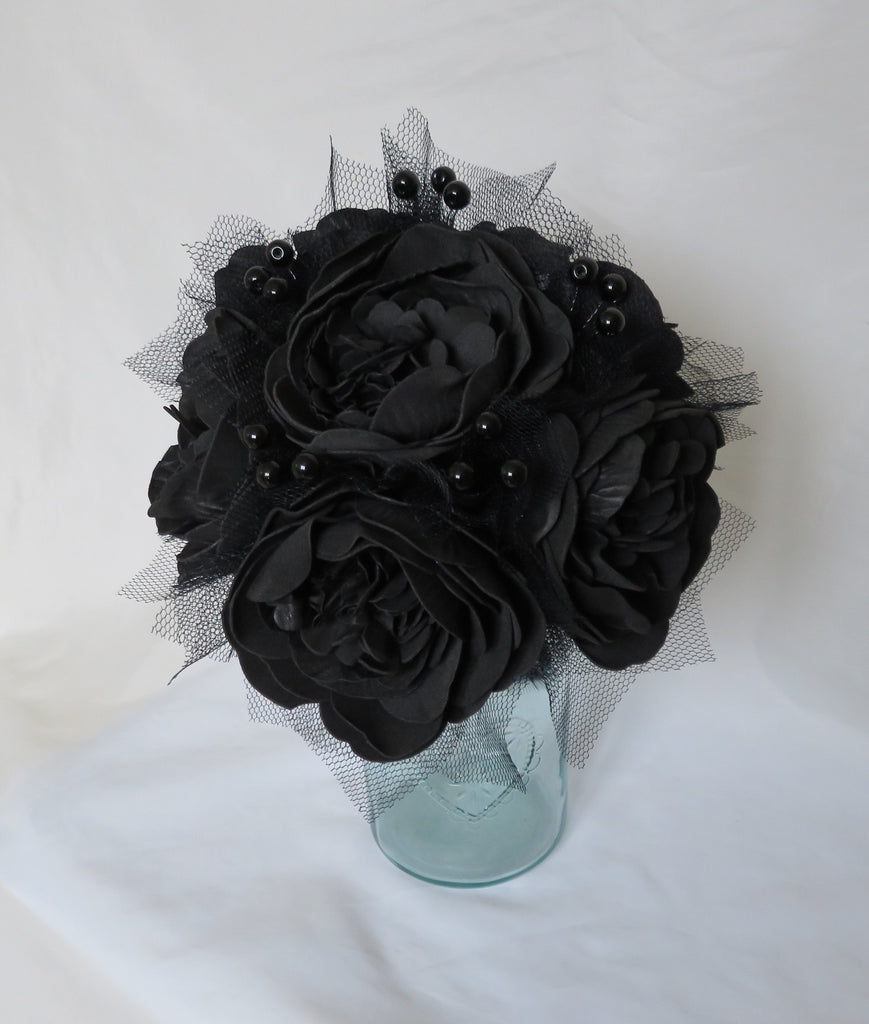 Black Peony Flower Bouquet - Tulle & Lace Flowers Brides Vintage Wedding Gothic Goth Alternative Halloween Posy - Ready Made