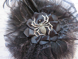 Black Spider Hair Clip with Feathers Cobweb Tulle Fascinator Bridal Brides Headpiece Goth Wedding Halloween - Ready Made