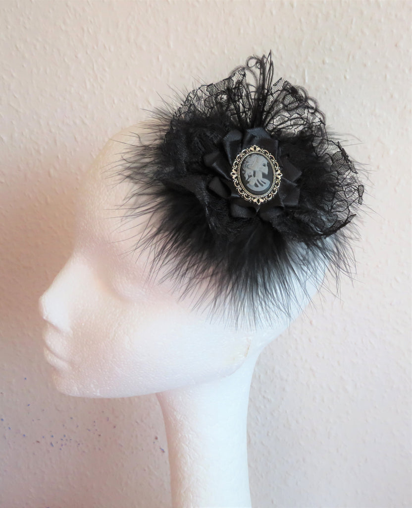 Black Victorian Gothic Skull Feather & Lace Fascinator Headpiece