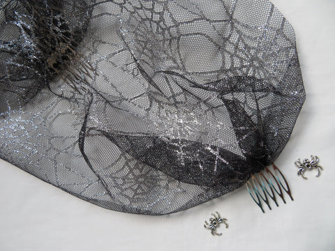 Black and Silver Cobweb Veil Tulle Mesh Birdcage Bandeau Wedding Bridal Brides Veil Combs -Gothic Goth Halloween Widow Spider - Ready Made