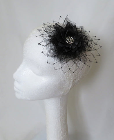 Black Lace Silver Pentagram Hair Clip Gothic Witch Halloween Wedding Fascinator