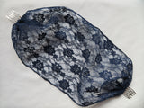 Midnight Navy Blue Lace Bandeau Veil