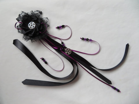 Black Gothic Ribbon Trail Hair Clip Amethyst Purple Silver Pentagram Goth Hair Ribbons Lolita Victorian Witch Halloween - Ready Made