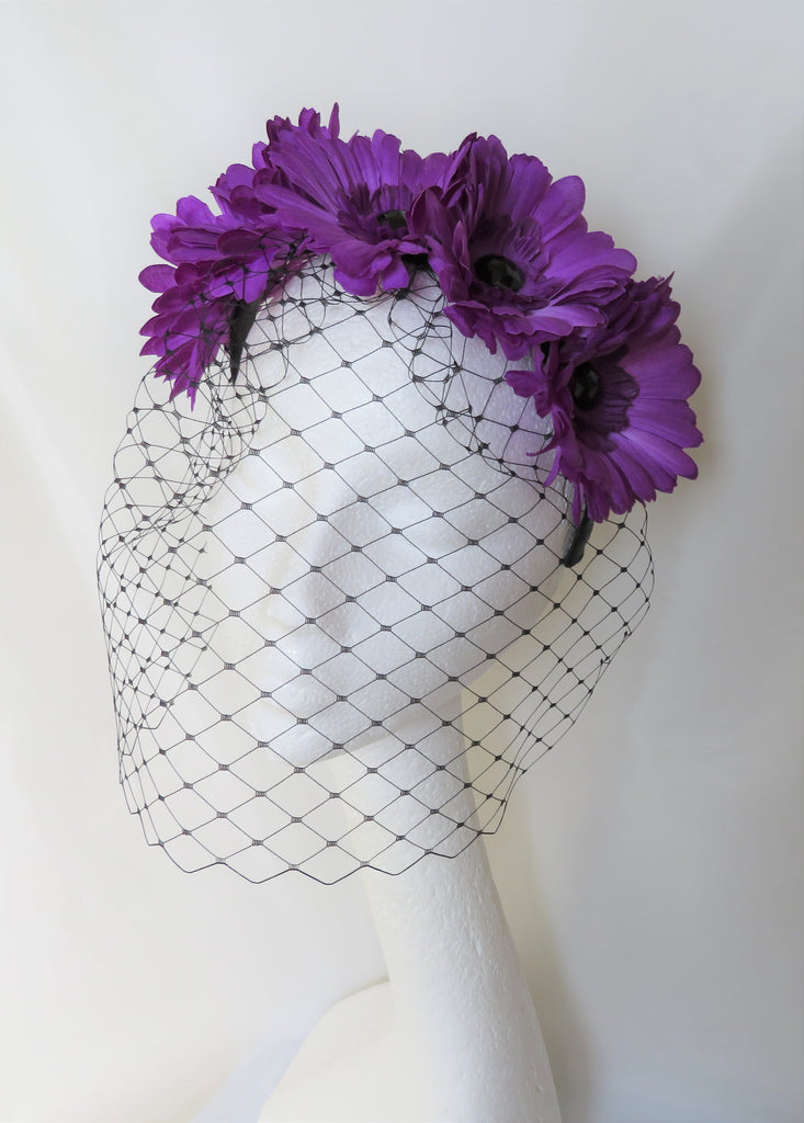 Ultraviolet Purple Daisy & Black Veil Flower Crown Retro Headband Gothic Goth