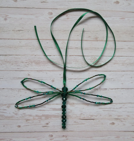 Bottle Emerald Green Beaded Crystal Dragonfly - Ornament Suncatcher Gifts Magic