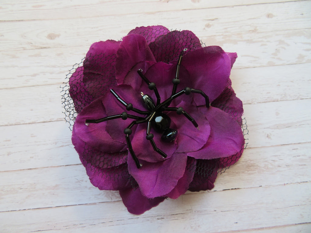 Amethyst & Black Beaded Crystal Spider Bridal Brooch Corsage Halloween Wedding