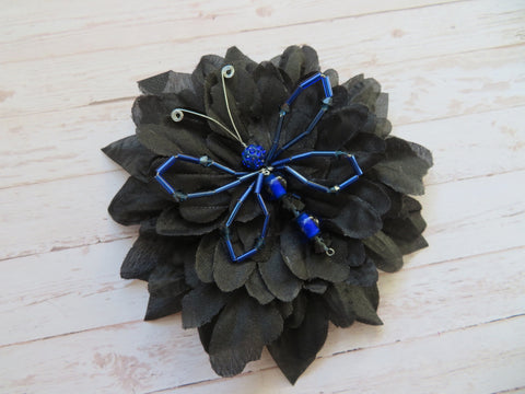 Cobalt Blue & Black Crystal Butterfly Bridal Brooch Corsage Buttonhole Wedding