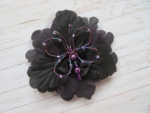 Black & Amethyst Crystal Butterfly Gothic Brooch Corsage Wedding Halloween Gift