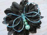 Black & Pale Aqua Crystal Butterfly Gothic Brooch Corsage Wedding Halloween Gift