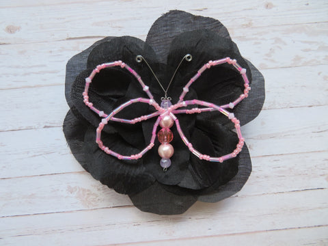 Black & Pale Pink Crystal Butterfly Gothic Brooch Corsage Wedding Halloween Gift