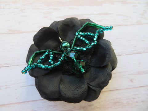 Black & Emerald Green Bead Crystal Bat Gothic Halloween Brooch Gift Goth Wedding