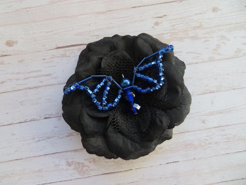 Black Sapphire Blue Bead Crystal Bat Gothic Halloween Brooch Hairclip Gift Goth