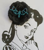 Black & Aqua Blue Bead Crystal Bat Gothic Halloween Brooch Hair Clip Gift Goth