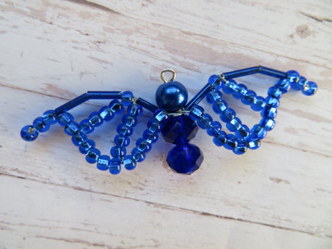 Cobalt Sapphire Royal Blue Beaded Crystal Bat Gift Costume Decoration Halloween