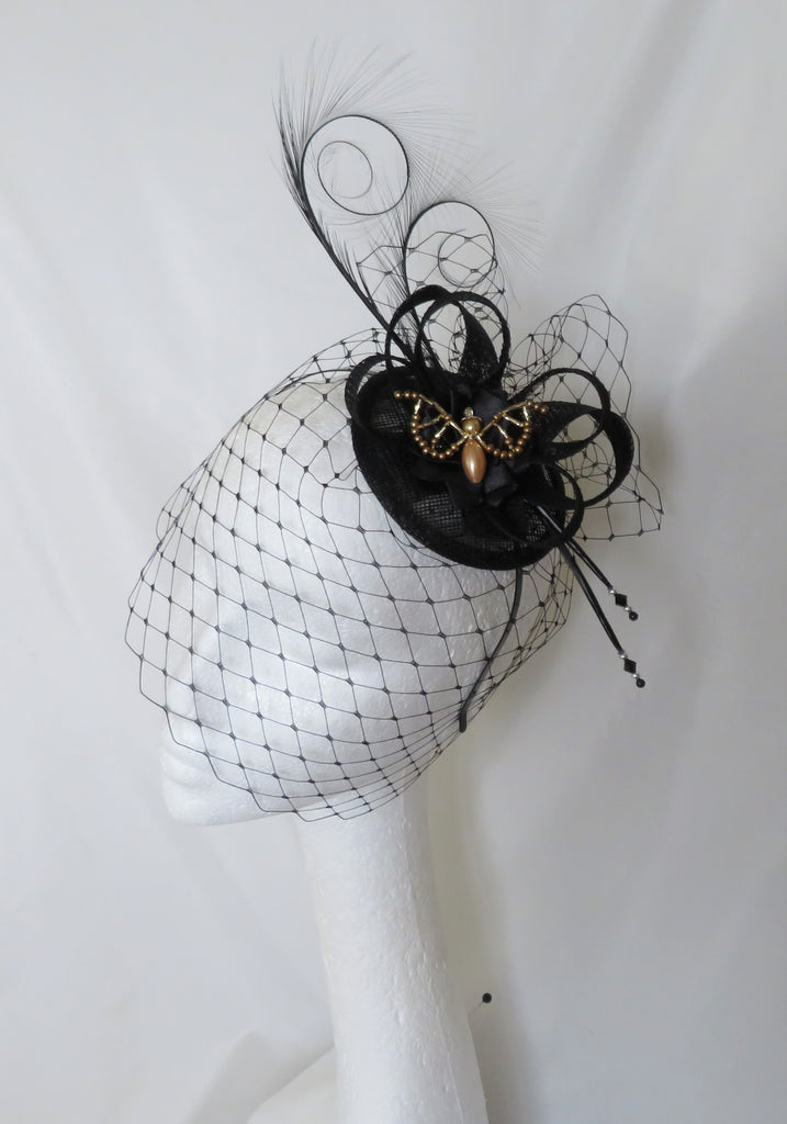 Black Spooky Bat Cocktail Hat - Gothic Halloween Elegant Sinamay & Feather Beaded Bats Fascinator Wedding Headpiece - Made to Order