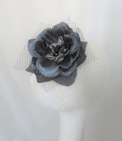 Grey and Black Bat Hair Clip Beaded Crystal Net Gothic Fascinator Hair Flower Gift Accessory Goth Wedding