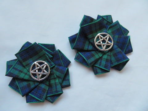 Black Watch Tartan Pentagram Shoe Clips Small Gothic Charm Satin Ruffle Shoeclips Silver Pentagrams Witch Magic Christmas Gifts- Ready Made