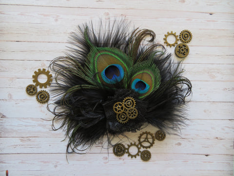 Black Steampunk Peacock Feather Hair Clip