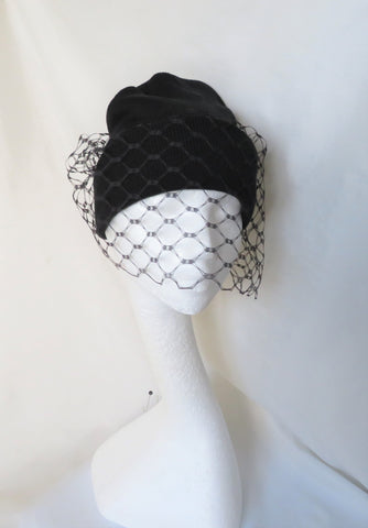 Black Wool Beanie Hat with a Veil