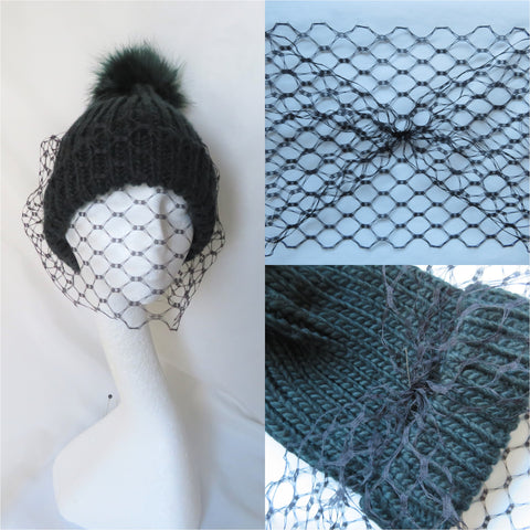 Do it Yourself Attachable Black Veil for a Beanie Hat