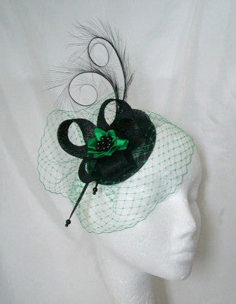 Black and Emerald Green Isadora Veil Pheasant Curl Feather & Pearl Fascinator Mini Hat - Gothic Diva Wedding Designs