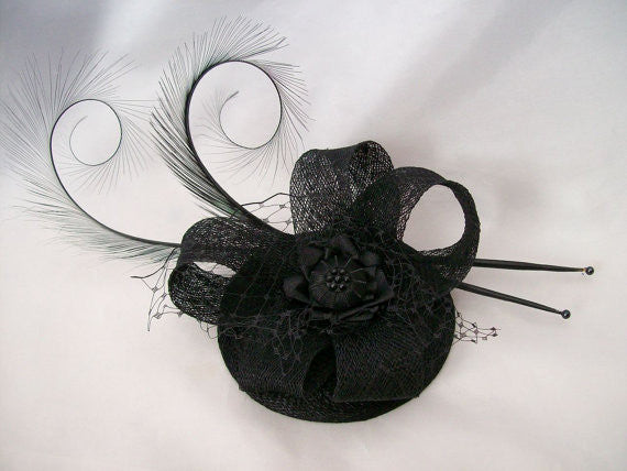 Black Isadora - Elegant Curl Feather Sinamay & Pearl Gothic Wedding Fascinator Mini Hat - Gothic Diva Wedding Designs