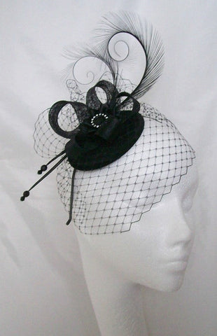 Black Veil Isadora -Pheasant Curl Feather Sinamay & Pearl Gothic Wedding Fascinator Mini Hat - Gothic Diva Wedding Designs