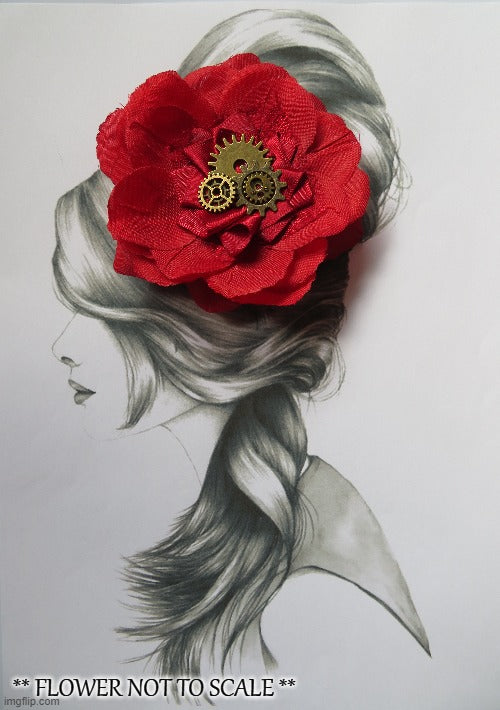 Ruby Red Steampunk Rose Flower Cogs Vintage Hair Clip Accessory Fascinator Wedding Cosplay Costume - Ready Made