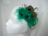 Emerald Green Small Peacock Feather & Pearl Vintage Mini Fascinator Hair Clip