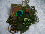 Moss Green Dark Olive Khaki Peacock Feather Vintage Mini Fascinator Hair Hat Clip - Gothic Diva Wedding Designs