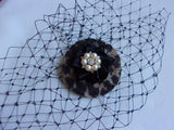 Leopardprint Vintage Fascinator - SMALL Black Merry Widow Birdcage Bride Veils -Pearl Brooch Retro- Clip in Veil - Made to Order