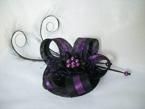 Black & Purple Isabel - Pheasant Curl Feather Sinamay and Pearl Gothic Fascinator Mini Hat - Gothic Diva Wedding Designs