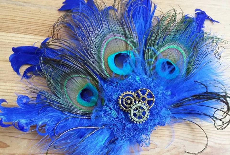 Royal Blue Steampunk Clip - Cobalt Peacock Feather and Brass Gold Watch Cog Detail Hair Clip Burlesque Fascinator Headpiece - Made to Order
