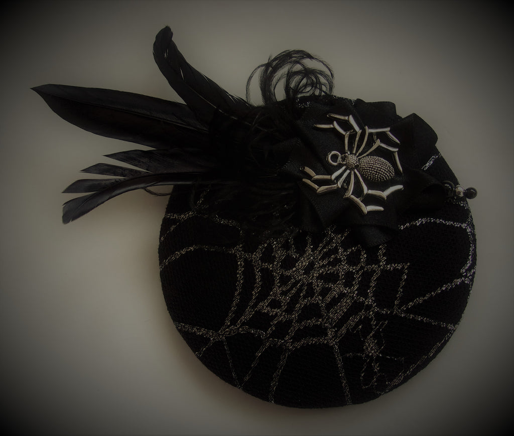 Black Cobweb spider cocktail hat