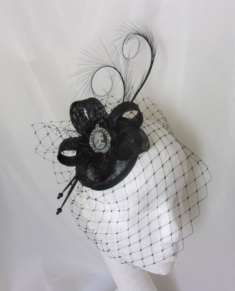 Black Veiled Skeleton Cameo Fascinator Cocktail Hat