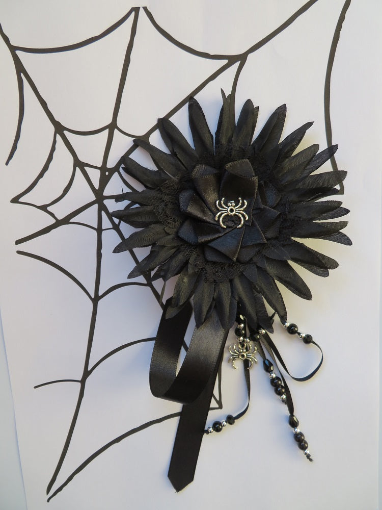 Black Daisy Spider Hair Flower Fascinator
