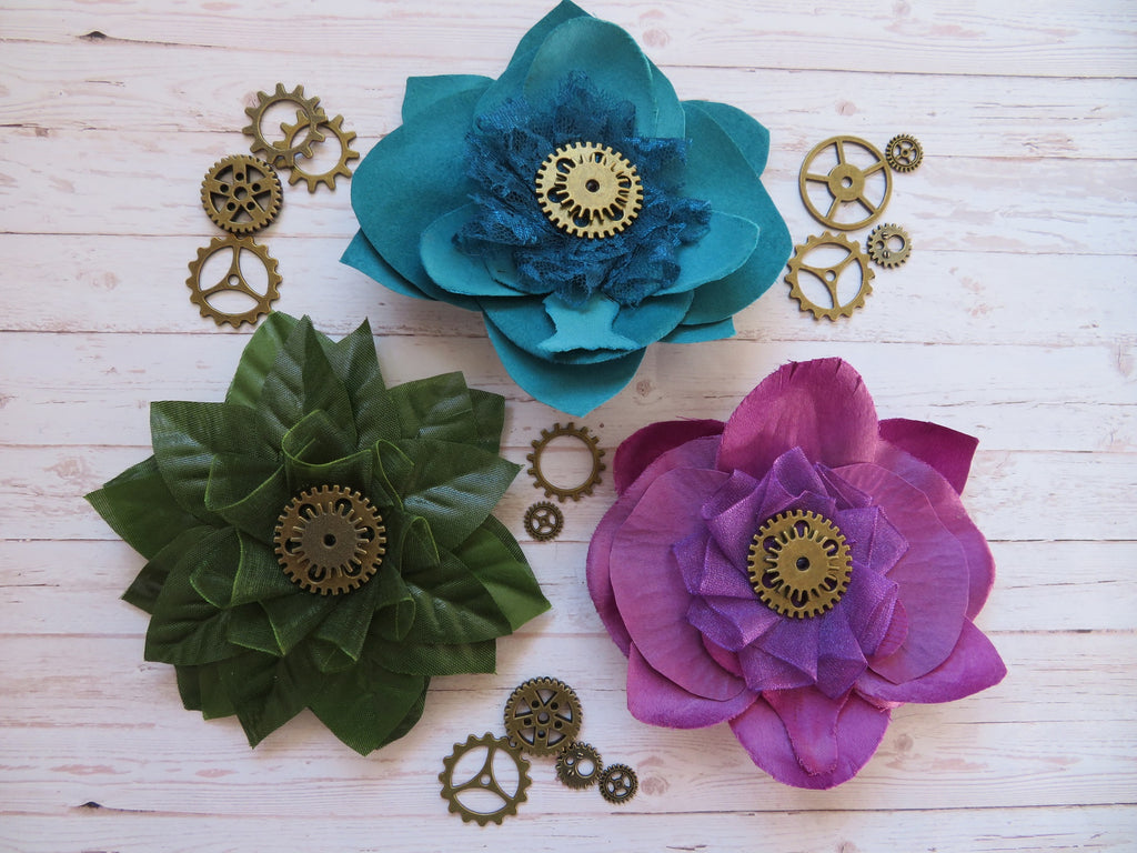 Steampunk Flower Brooches