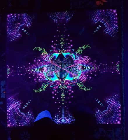 UV Active NEON Canvas Backdrop - Subatomic Neuronaut 66 x 66 cm