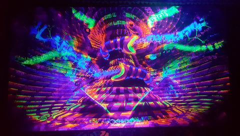 UV Active NEON Canvas Backdrop - Noetic Vortex 145 x 80 cm