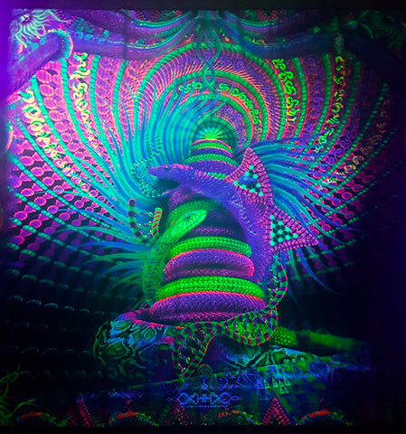 UV Active NEON Canvas Backdrop - Kundalini Rising 142 x 142 cm