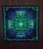 UV Active NEON Canvas Backdrop - Divine Yantra 33 x 33 cm
