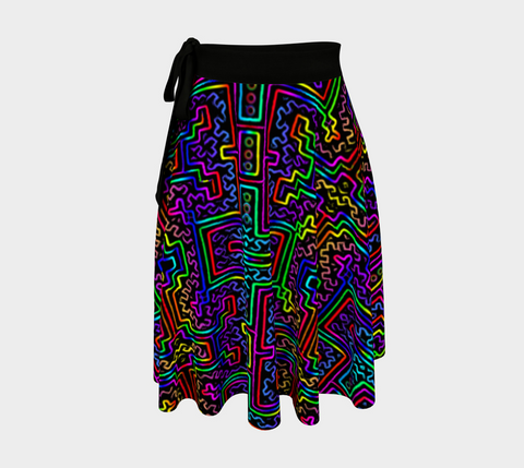 Prismatic Overlay Wrap Skirt