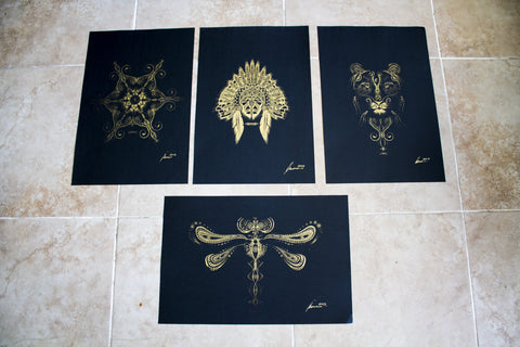 Discounted Foil Print Set of 4 (Signed)