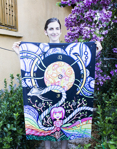 "Lycra Tapestry of ""A Kawaii Goddess' Playground"""