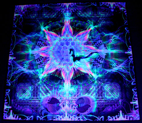 UV Active NEON Canvas Backdrop - Harmalan Fable 100 x 100 cm