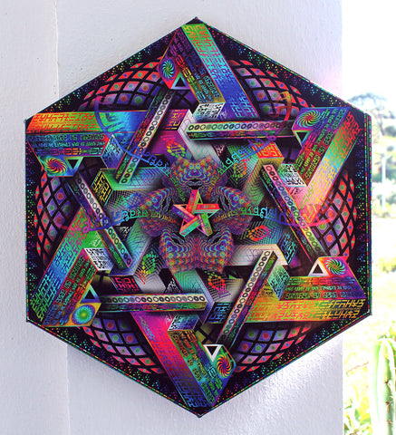 "Hexagonal Stretched Canvas Print of ""Hyperdimensional Harmonics"" - Limited Edition"