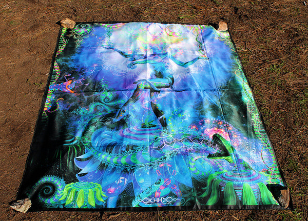 UV Active NEON Canvas Backdrop -Serpentine Apotheosis 118 x 142 cm