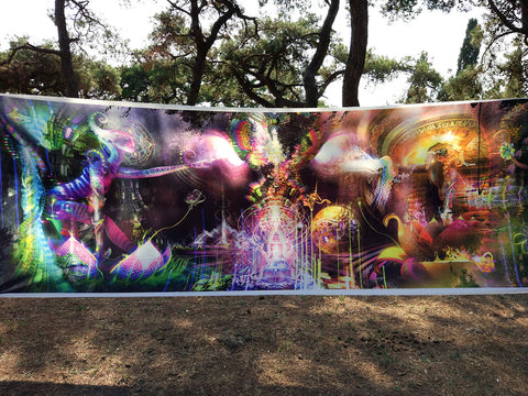 "Massive Satin Tapestry / Backdrop of ""Sacred Symbiosis"""