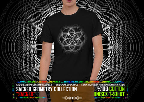 "Sacred Geometry Collection ""Sacred"" Organic Cotton T-Shirt"